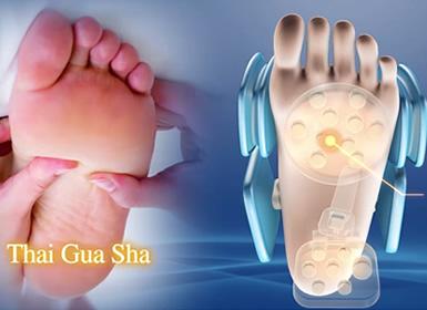 Massaggio al plantare del piede.